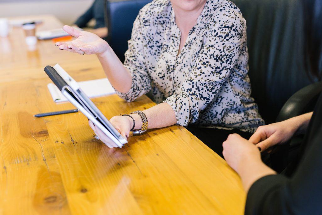 Team sharing information on meeting